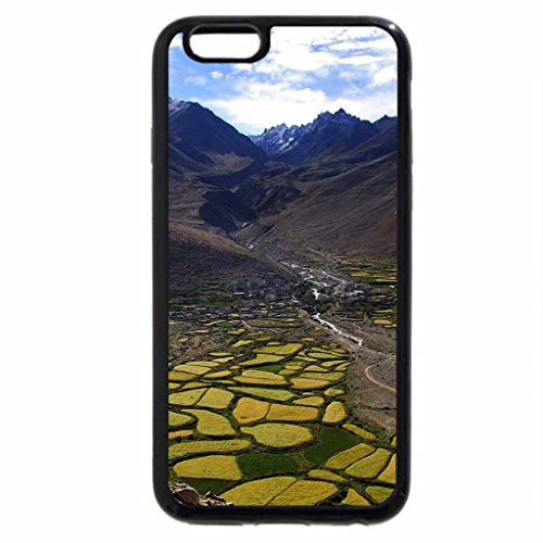 iPhone 6S Case, iPhone 6 Case (Black & White) - beautiful fields in a mountain valley in tibet