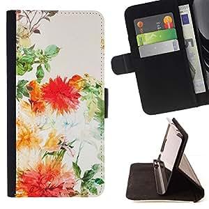 For LG G3 Case , Vintage Vignette Verde Naranja Melocotón- la tarjeta de Crédito Slots PU Funda de cuero Monedero caso cubierta de piel