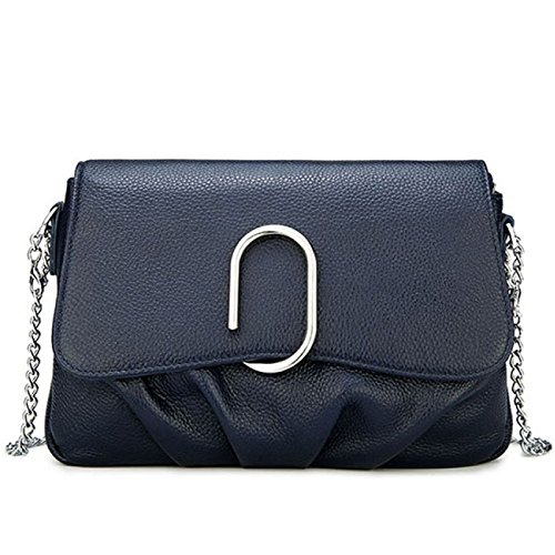 - Simple And Fashionable Leather Handbags First Layer Leather Shoulder Bag Dumpling Shape Metal Chain,Black-24197cm