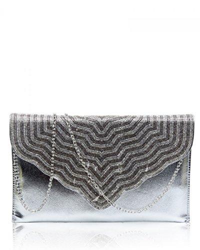 Pochette London Craze Pour Femme Silver Envelope 58d4dRxn