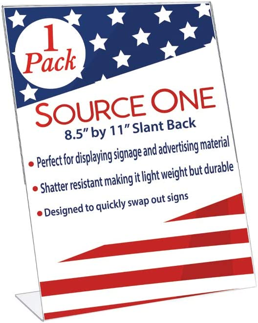 Best Value 8.5 x 11 Inches Thick Acrylic Slant Back Sign Holder Ad Frame Picture Frame, Clear Acrylic Perfect for Trade Shows, Museums, Retail Stores (1 Pack)