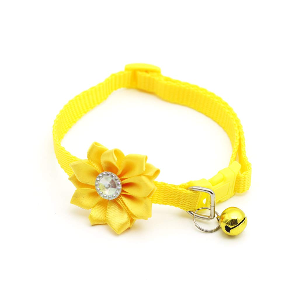 Uwhbbxkw Cute Soft Adjustable Dog Collar Pet Collars with Flower Bells Charms Necklaces Leash for Small Dogs Cat Pets