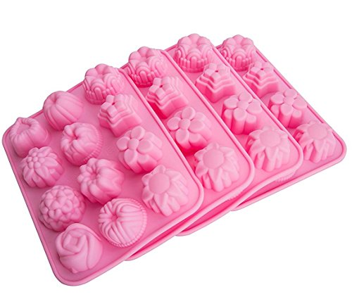 Tebery12 Cavity Flowers Silicone Cake Bread Mold,Non StickCandy Molds - Set of (4 Cavities Candy Mold)