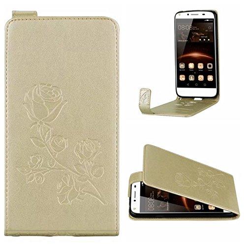 YHUISEN Caja de cuero vertical del tirón del estampado de la flor de Rose con la ranura para tarjeta para Huawei Y5II / Huawei Y5 2 ( Color : Gray ) Gold