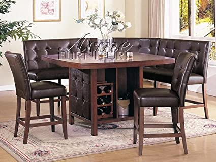 Exceptionnel 6 Pc Walnut Finish Wood Counter Height Dining Table Set With Booth Style  Seats