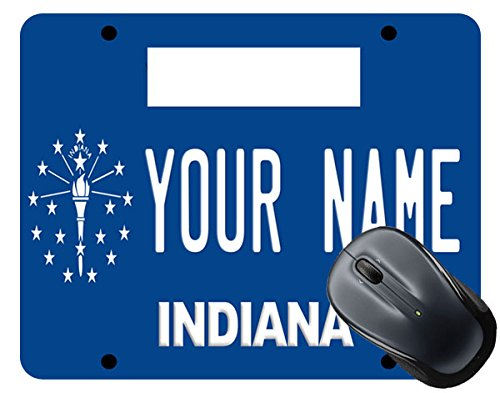 BleuReign(TM) Personalized Custom Name Indiana State License Plate Square Mouse ()