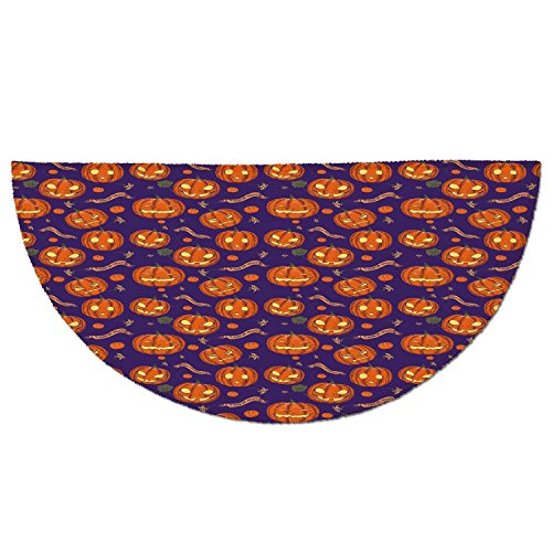 Half Round Door Mat Entrance Rug Floor Mats,Halloween,Pumpkins Pattern Different Face Expressions Happy Angry Scary Puzzled,Orange Indigo Yellow,Garage Entry Carpet Decor for House Patio Grass (Different Halloween Pumpkin Faces)