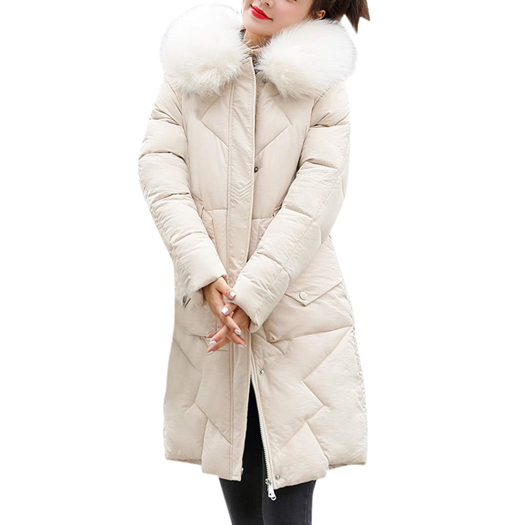 ZOMUSAR Ladies Coat, Women Fashion Outerwear Long Cotton-padded Jackets Pocket Faux Fur Hooded Coats by ZOMUSAR