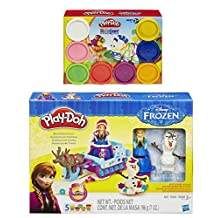Play-Doh Sled Adventure Playset Featuring Disneys Frozen Elsa, Anna, Sven and Olaf Plus Extra Play-Doh Rainbow Starter Pack (Bundle)