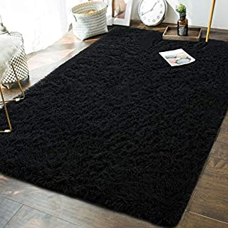 Andecor Soft Fluffy Bedroom Rugs - 5 x 8 Feet Indoor Shaggy Plush Area Rug for Boys Girls Kids Baby College Dorm Living Room Home Decor Floor Carpet, Black