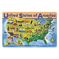 Melissa & Doug Wooden USA Mapa Rompecabezas, Limpie y Limpie la Superficie, Enseña Geografía y Formas, 45 Piezas, 18.2 ″ H × 11.6 ″ W × 0.45 ″ L