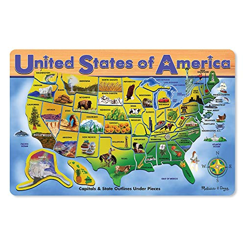 State Nicknames Capitals - Melissa & Doug Wooden USA Map Puzzle, Wipe-Clean Surface, Teaches Geography & Shapes, 45 Pieces, 18.2″ H × 11.6″ W × 0.45″ L