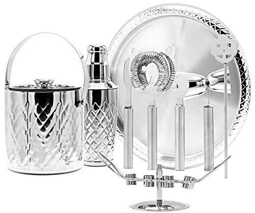 Elegant Cocktail Shaker Set – 10 Piece Stainless Steel Bar Tool Set with Ice Bucket and Tray –all in One Cocktail Set for Restaurant or Home Bar