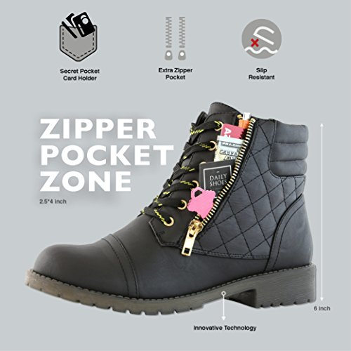DailyShoes Women's Military Combat Boots Quilted Hiking Lace Up Buckle Ankle High Exclusive Credit Card Pocket - stylishcombatboots.com