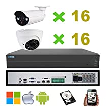 NightKing 5MP ONVIF Network POE Security System,Vari Focal Zoom 2.8~12mm,130Feet IR,(16) Bullet Camera & (16) Dome Camera,8TB HDD Installed,Free Mobile App View