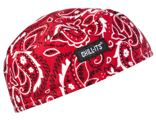 Ergodyne Chill-Its 6630 Absorptive Moisture-Wicking Skull Cap, Red Western