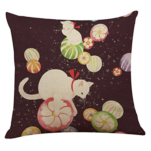 Clearance ! AmyDong Christmas Cute Cat Linen Pillowcase Christmas PrSofa Bed Home Decoration Festival Pillow Case Cushion Cover (Embroidered Mat Standard)