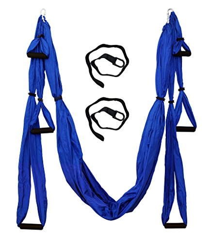 Parachute Fabric Aerial Yoga Swing,Ultra Strong Antigravity Yoga Hammock,Trapeze,Sling for Air Yoga Inversion wih 2 Extensions Straps by SIWA MARY (Image #1)