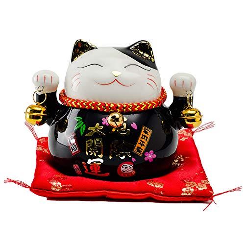 Chinese Feng Shui Porcelain Lucky Cat Figure Maneki Neko Fortune Cat Money Box Lucky Charm Piggy Bank L12W9H10cm,Black