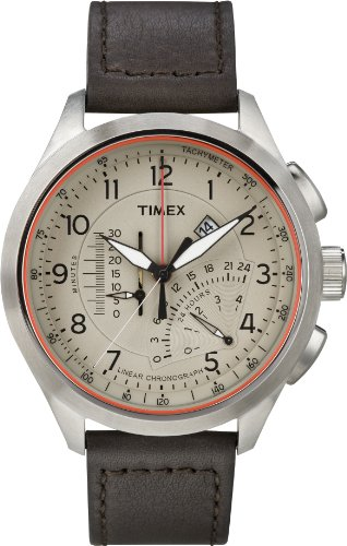 Timex Intelligent Quartz T2P275 Mens Cream Brown Linear Chronograph Watch