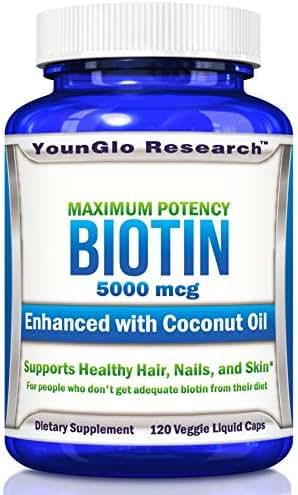 Biotin Coconut Oil 5000 mcg - for Healthy Hair - 120 Veggie Liquid Pills (1 Pack)