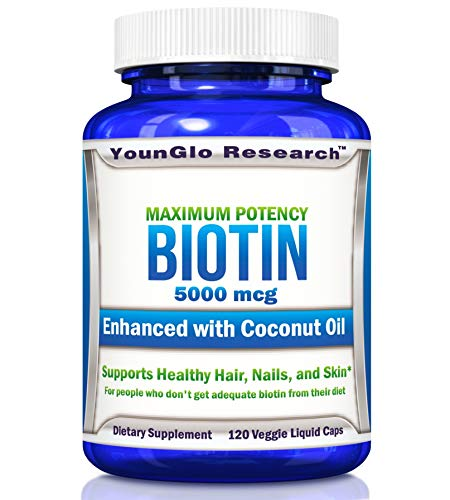 Biotin Coconut Oil 5000 mcg - for Healthy Hair - 120 Veggie Liquid Pills (1 Pack)