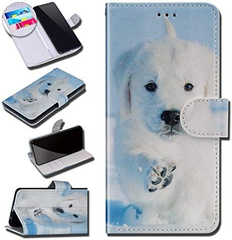 Urhause Kompatibel mit Huawei Honor View 20 Hülle Karikatur Gedruckt Leder PU Handyhülle Magnetverschluss Standfunktion Handytasche Brieftasche Tasche Kartenfach Etui Wallet Lederhülle Case, Labrador