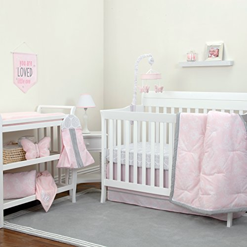 NoJo Dreamer - Pink/Grey Floral 8 Piece Comforter Set Butterfly Nursery Bedding