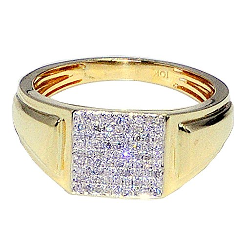 - Diamond Ring 10k Gold 1/4cttw Mens Fashion Pinky Ring 10mm Wide(i/j Color 0.26cttw)