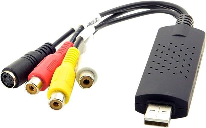 VC100 External USB Video Capture Card Vista 7 y 8 x32 x64 EasyCAP Capturadora de Video USB 2.0 y Captura de Video y Audio Compatible con Windows XP