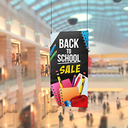 (Back to School Sale Promotion - 13Oz Vinyl Banner - School Supplies Business Advertising Outdoor - Banners for School Displays Store, Sale Banner with Metal Grommets (Black,Yellow,White, 12' x 6'))