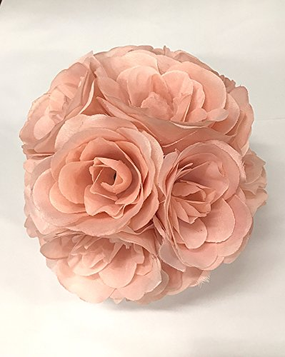 Ben Collection Fabric Artificial Flowers Silk Rose Pomander Wedding Party Home Decoration Kissing Ball Trendy Color Simulation Flower (Blush Pink, 20cm)