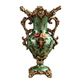 vase resin - European-style Retro Living Room Dining Table Bedroom Decoration Hand Painted Resin Large Flowers Vase, Green