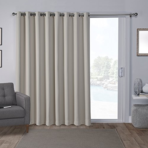 Exclusive Home Curtains Sateen Linen 100x84 Blackout Wide Patio Curtain Panel with Grommet Top,