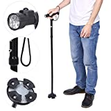 Folding Canes, Collapsible Trekking Poles, Anti Shock Sponge Handle Adjustable Height Built-in LED Flashlight Walking Sticks