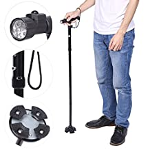 Folding Canes, Collapsible Trekking Poles, Anti Shock Sponge Handle Adjustable Height Built-in LED Flashlight Walking Sticks