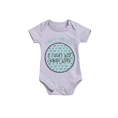 116e75b952aec Amazon.com: Hatoys Toddler Kids Baby Girls Boys Floral Letter Print Romper  Bodysuit Clothes Summer: Clothing