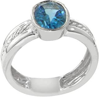 T/&F-Jewelry Fashion Heart Cut Blue Sapphire Jewelry Silver Color Ring For Women Party Wedding Rings
