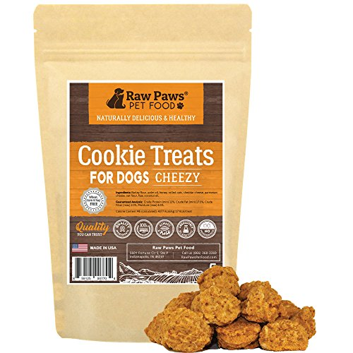 Raw Paws Pet All-Natural Cheezy Dog Cookies, 5-ounce - Made in USA Only - Cheese Treats for Dogs - Made with REAL Cheddar Cheese - Wheat, Corn, Soy & Preservative ()