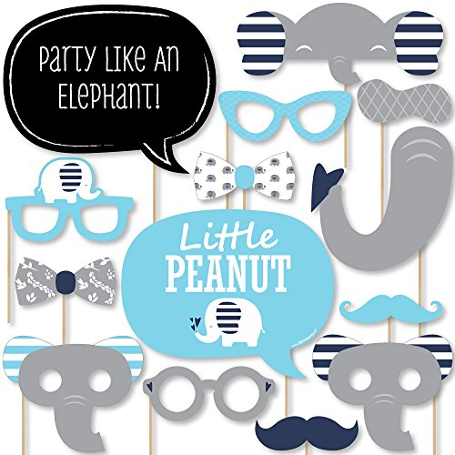 Big Dot of Happiness Blue Elephant - Boy Baby Shower or Birthday Party Photo Booth Props Kit - 20 Count]()