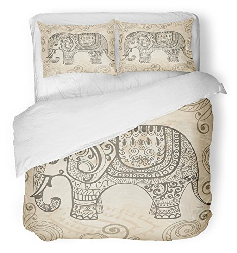 Emvency Bedsure Duvet Cover Set Closure Printed Colorful India Fantasy Patterned Elephant Separately From Animal Nature Funny Africa Decorative Breathable Bedding Set With 2 Pillow Shams Twin Size