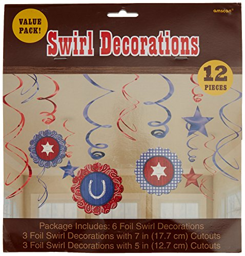 High Riding Western Party Hanging Swirl Ceiling Decoration, Foil, Pack of (Space Cowboy Costume Ideas)