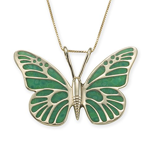 Gold Plated 925 Silver Butterfly Necklace Handmade Green Polymer Clay Jewelry, 16.5