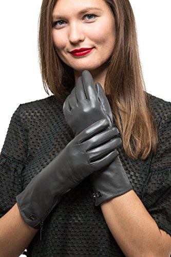 Avenue Leather Gloves (Long Sleeve Leather Zipper Gloves For Women, Touchscreen Cold Weather Long Sleeve Gloves - With Thinsulate Liner - Gray - Medium)