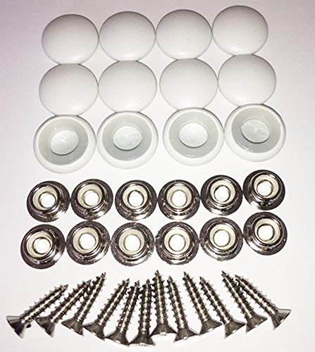 (Set of 12 Dura Snap Upholstery Buttons #30 White Vinyl)