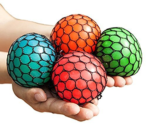 Anti-Stress Mesh Squishy Ball Squeeze Grape Ball Relieve Pressure Ball, Colors May Vary, 5 -