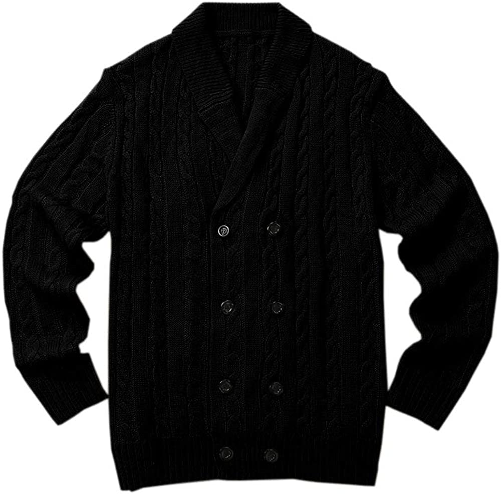 Gafeng Mens Shawl Collar Cardigan Sweaters Winter Button up Cable Knitted Thermal Thick Chunky Sweater Jacket