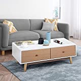 Small Coffee Tables with Storage Yaheetech Modern Coffee Table/End Table Cabinet With Drawers Solid Wood Legs