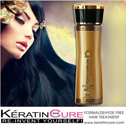 Keratin Cure 0% Formaldehyde Brazilian Hair Treatment Gold & Honey Bio-Brazilian Repair-Straightener Professional 160ml 5 fl oz Safe for Kids by Keratin Cure