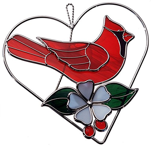 Red Stained Glass Suncatcher - Stained Glass Red Cardinal on Wire Heart Ring